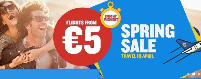Vandaag 60.000 tickets (in april) vanaf €9,99 @ RyanAir