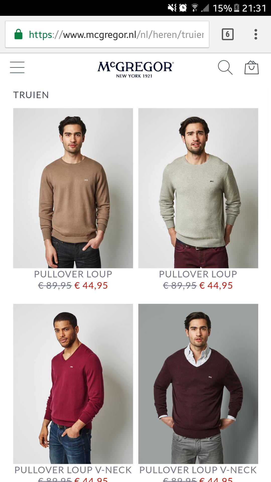[MCGREGOR] veel truien -50% + gratis verzendkosten!