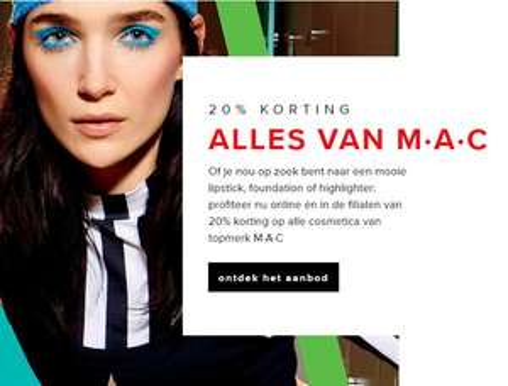M.A.C. 20% korting @ De Bijenkorf