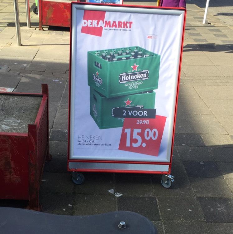 2 heineken kratten voor 15 euro Dekamarkt