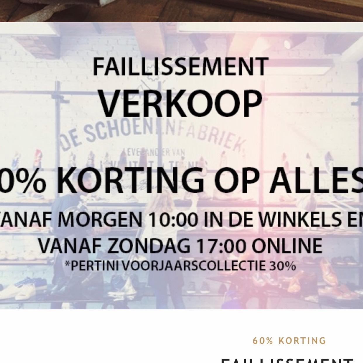 Schoenenfabriek failliet! 60% op alles!