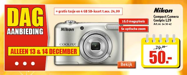 Nikon Coolpix L29 (zilver) met 4GB SD kaart en tasje voor €45,- door kortingscode @ Kijkshop