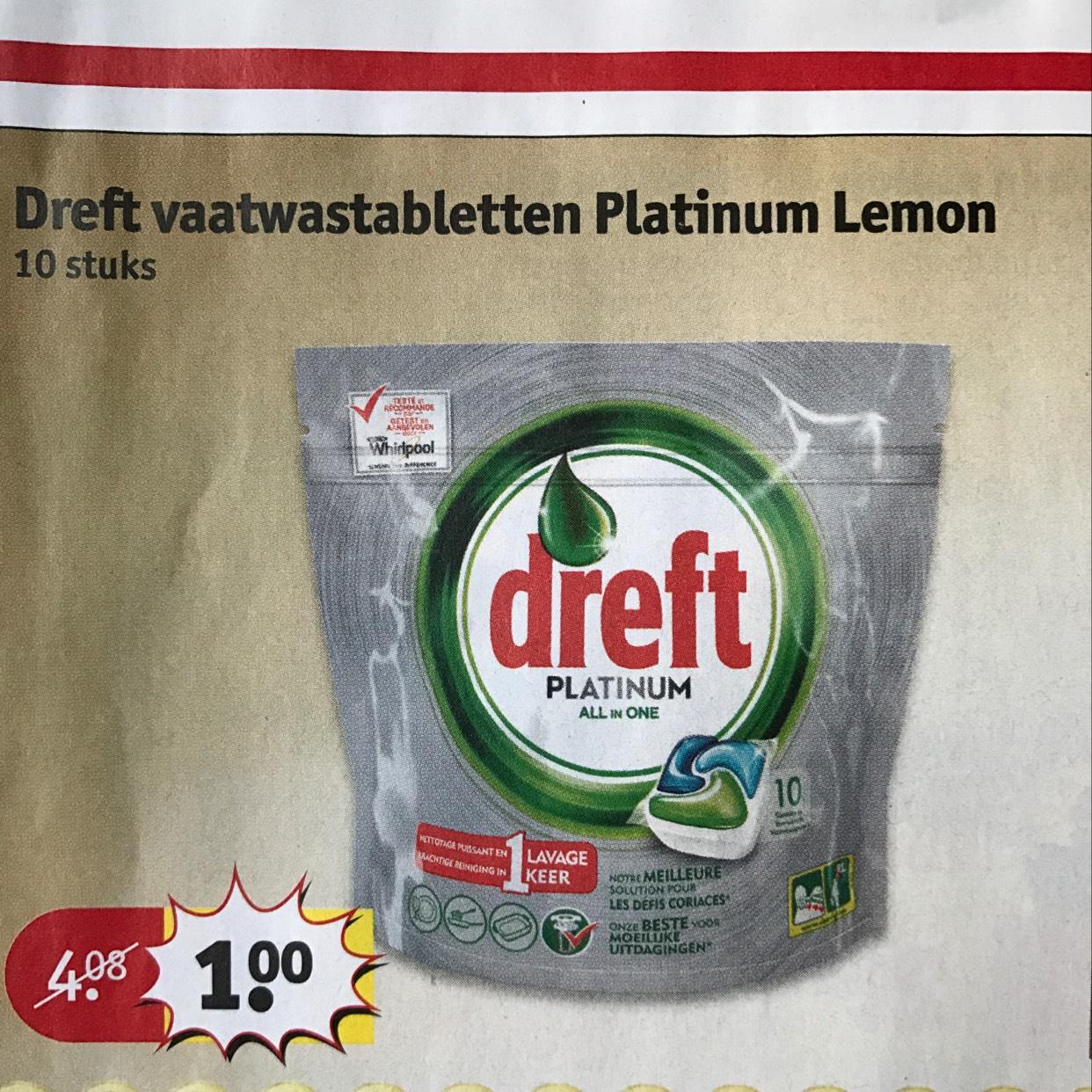 Dreft vaatwastabletten Platinum Lemon 10 stuks voor €1 @ Kruidvat