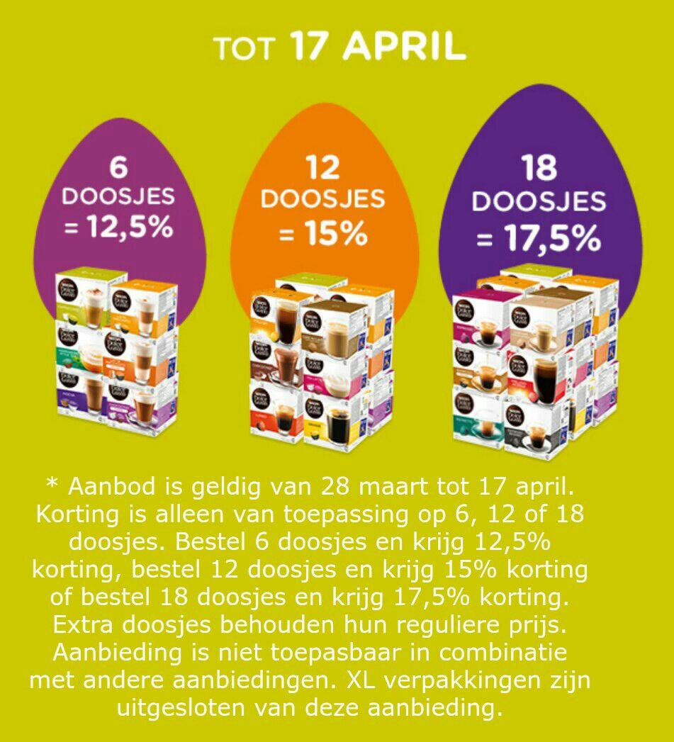 Tot 17,5% korting op doosjes Nescafe Dolce Gusto @ dolce-gusto.nl