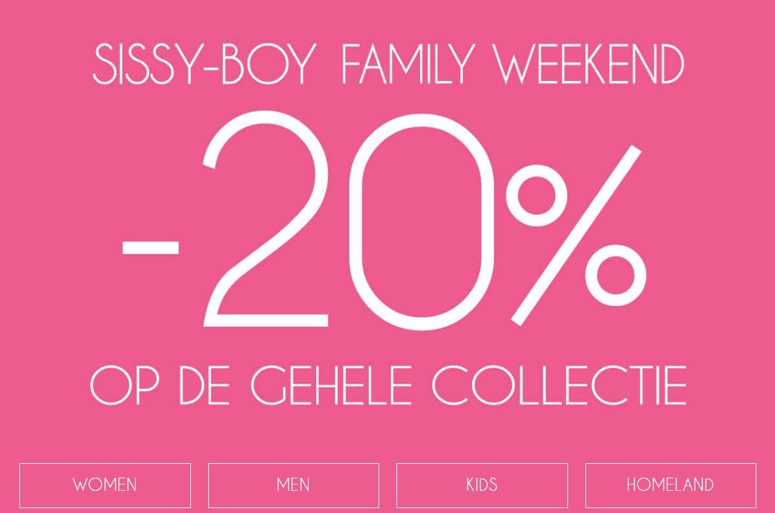 Dit weekend 20% korting - ook bovenop sale @ Sissy Boy