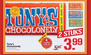 Tony Chocolonely 2 repen voor €3,99 @ Coop