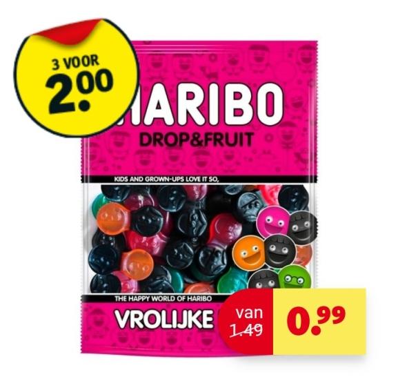 Haribo vrolijke drop 3 voor €2,- @ Kruidvat