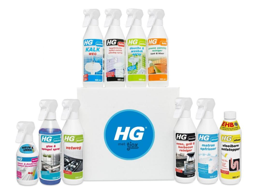 Box met 10 reinigingsproducten van HG