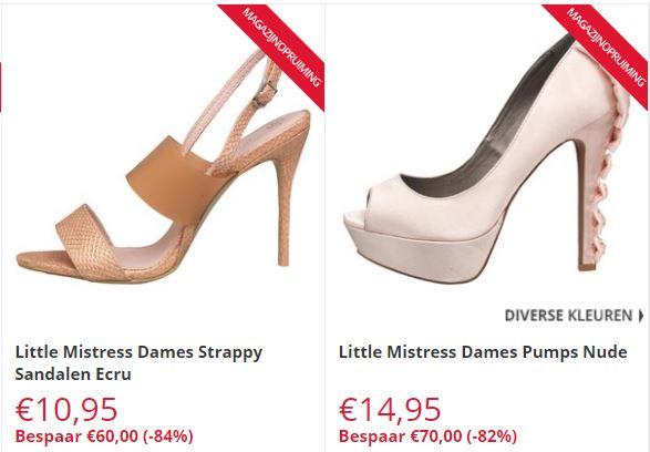 Little Mistress heels met -71 / -84% korting (€9,95-€15,95) @ MandM Direct