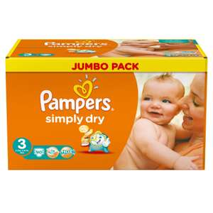180 Pampers Simply Dry luiers voor €27,82 @ Amazon.de