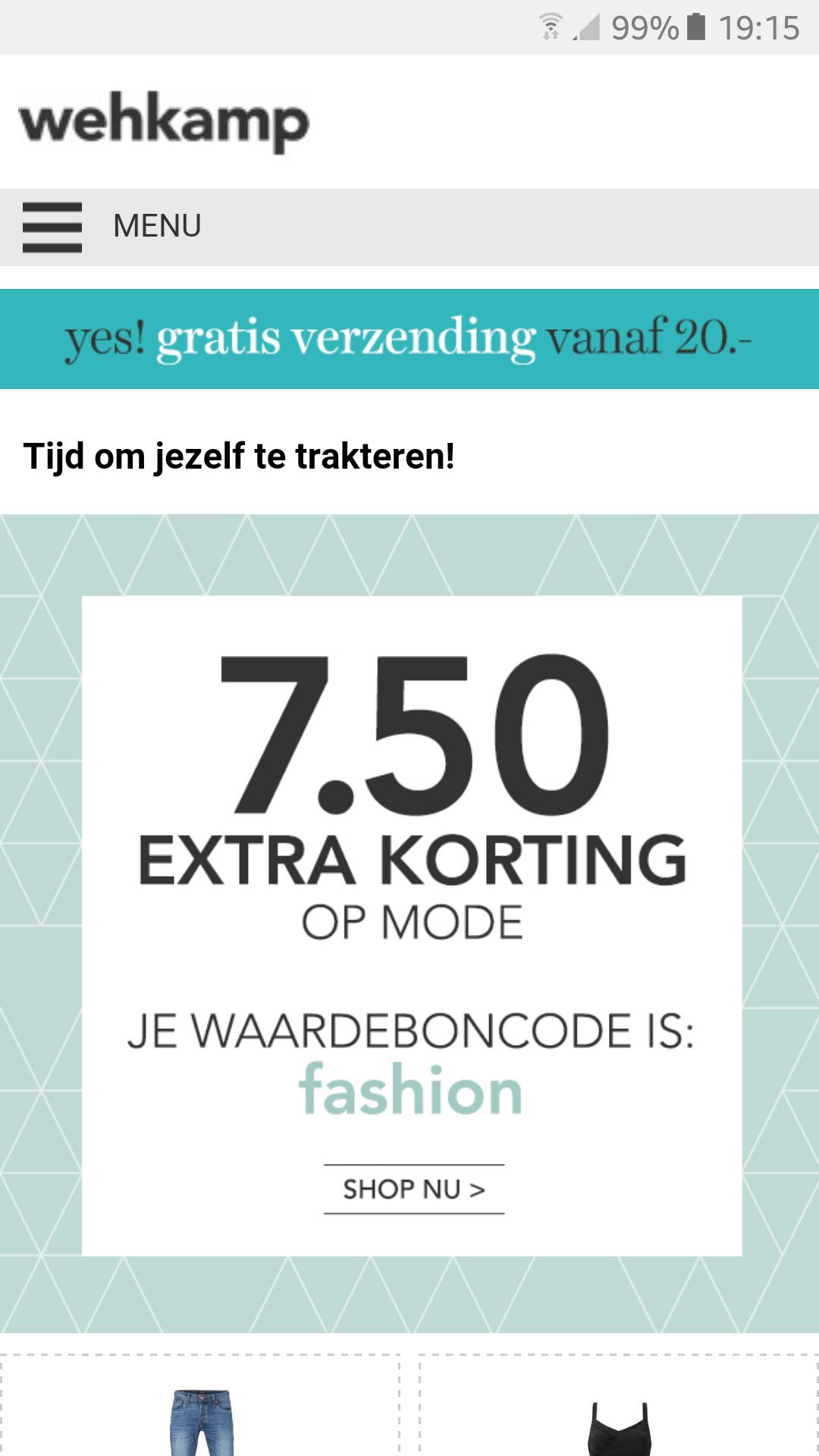 €7,50 korting vanaf €50 op mode @ Wehkamp