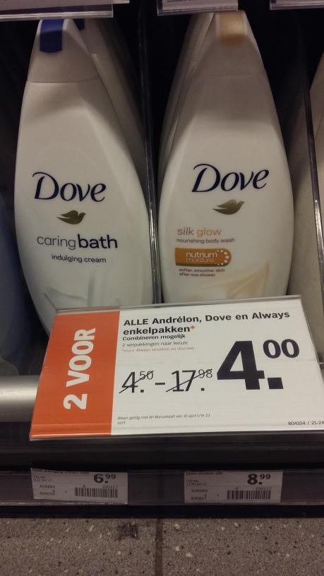 2 flessen Dove voor 4euro @ AH