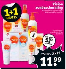 Vision zonproducten 1+1 gratis @ Kruidvat
