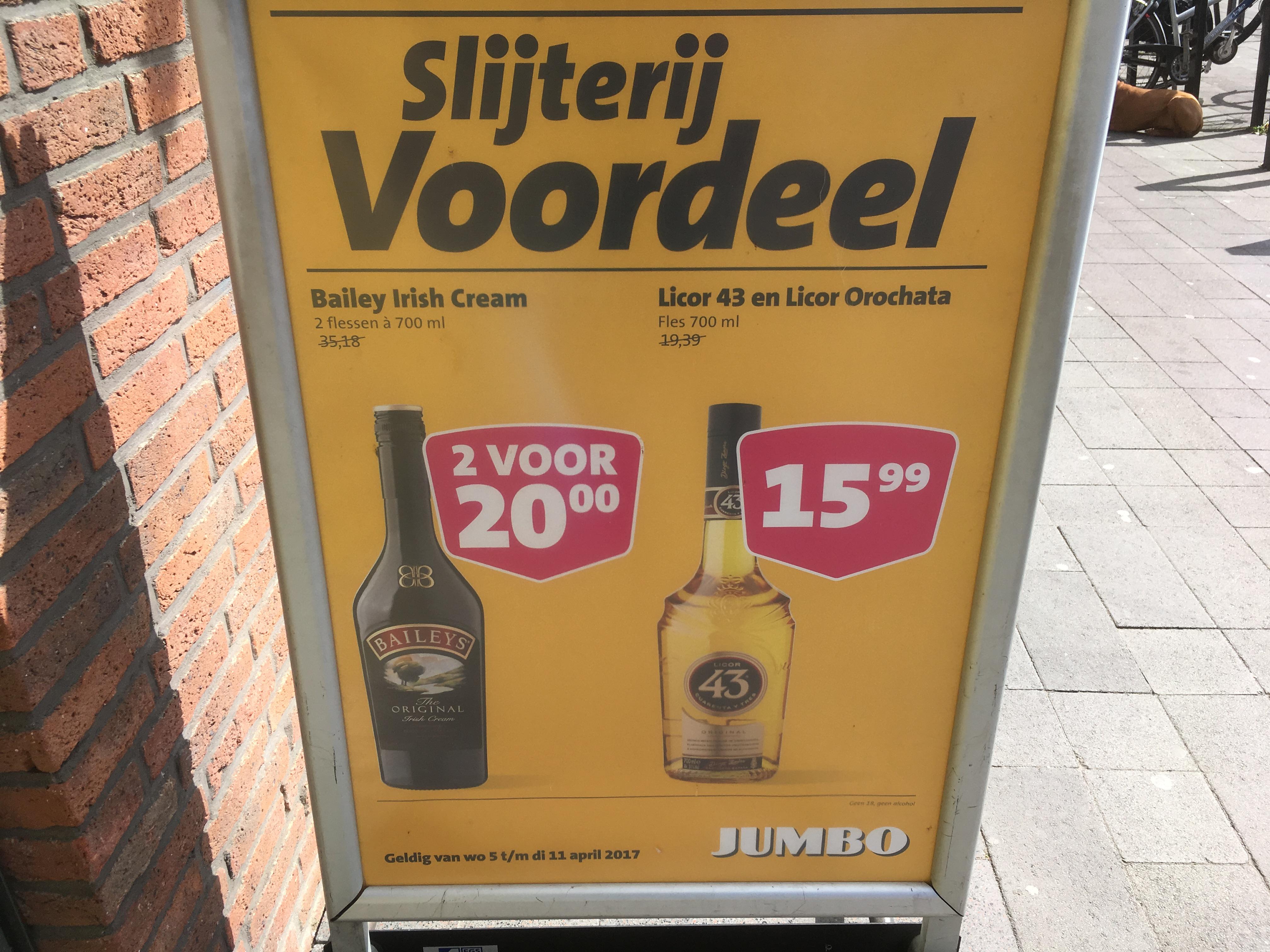 2 flessen Baileys voor 20 euro bij de Jumbo (normaal 35,18)