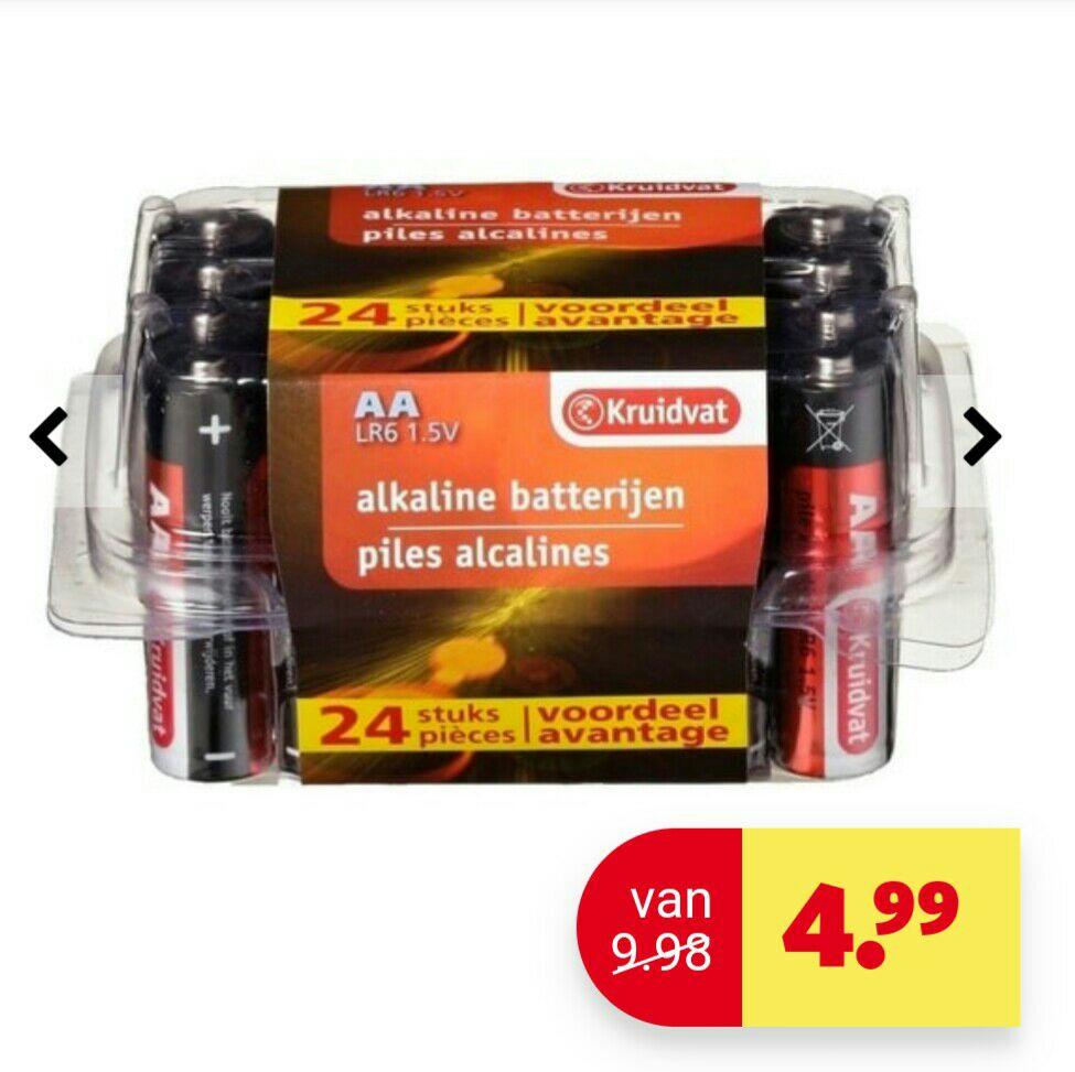 Kruidvat 24 stuks AA of AAA Penlite Alkaline Batterijen voor €4,99 @ Kruidvat