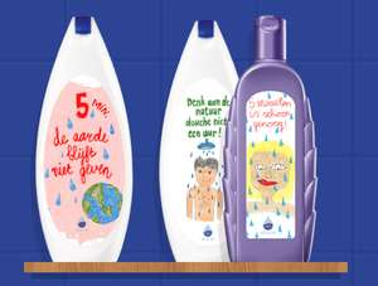 Ontwerp gratis je eigen etiket voor op je fles shampoo of douchegel @ WaterSpaarders