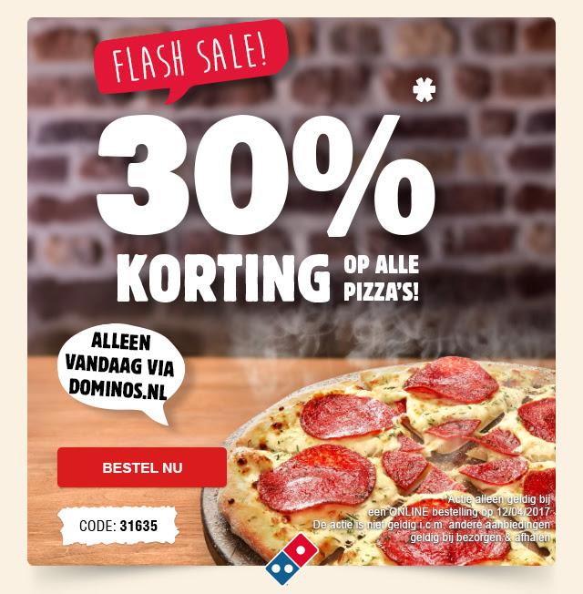 Alleen vandaag 30% korting op alle pizza's tijdens de Flashsale! @ Domino's
