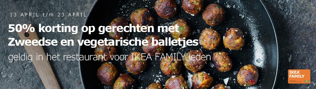 50% korting op alle gerechten met Zweedse en vegetarische balletjes @ IKEA