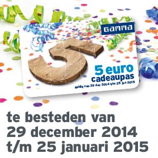 Gratis 5 euro cadeaupas bij elke aankoop vanaf 5 euro @ GAMMA