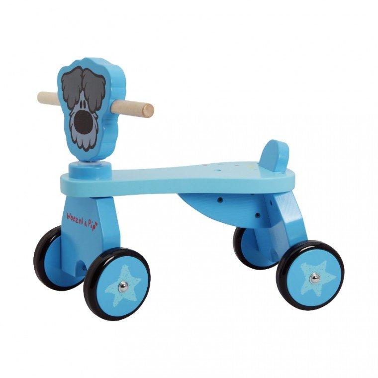 Woezel Houten Vierwieler (Blauw) voor €29 @ Babypark