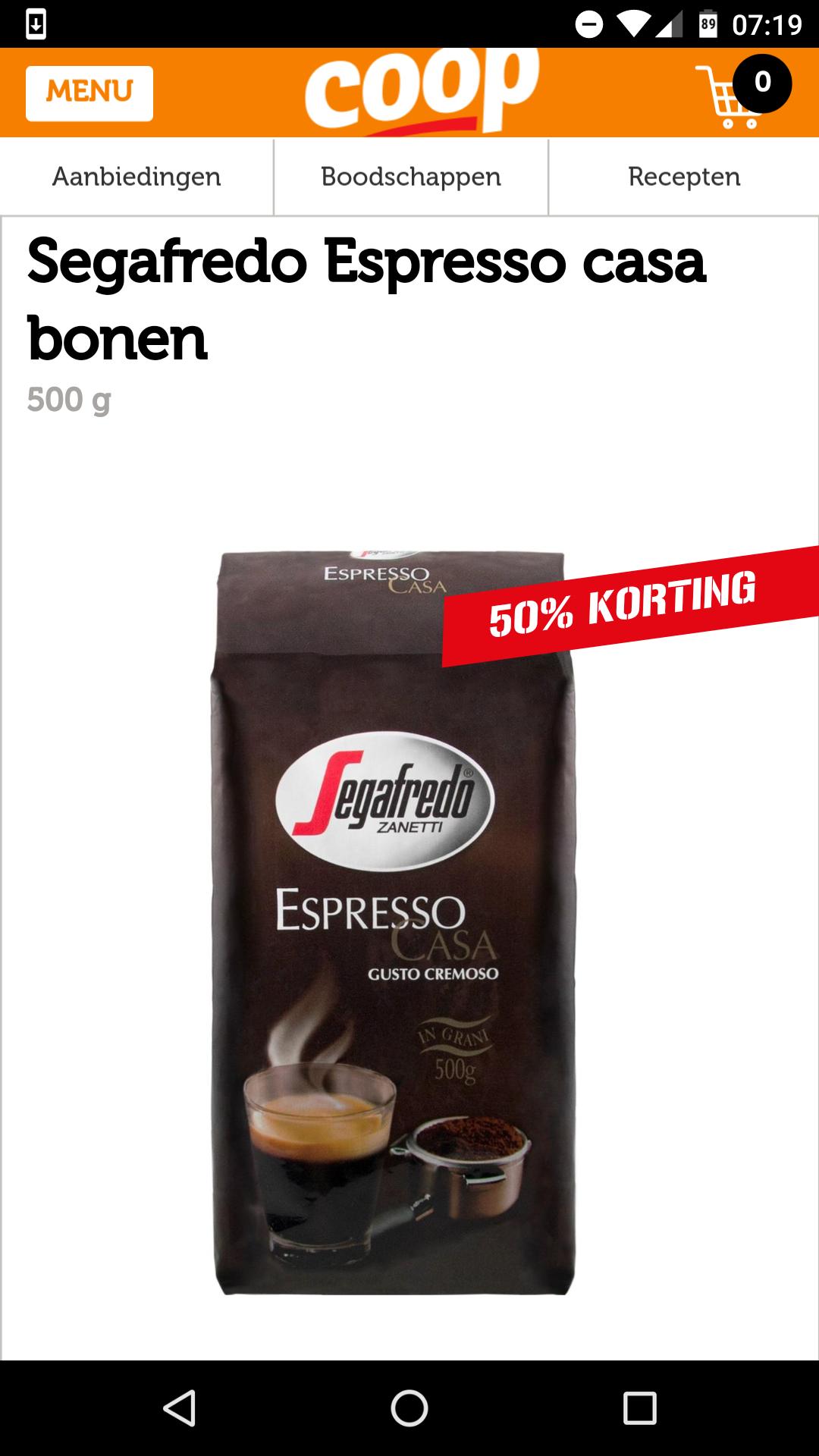 Segafredo Espresso casa bonen - 50% korting @ Coop