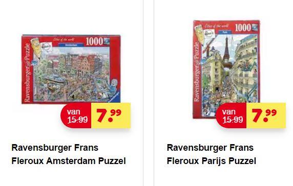 Ravensburger 'Fleroux' Puzzels Amsterdam of Parijs €7,99 @ Kruidvat