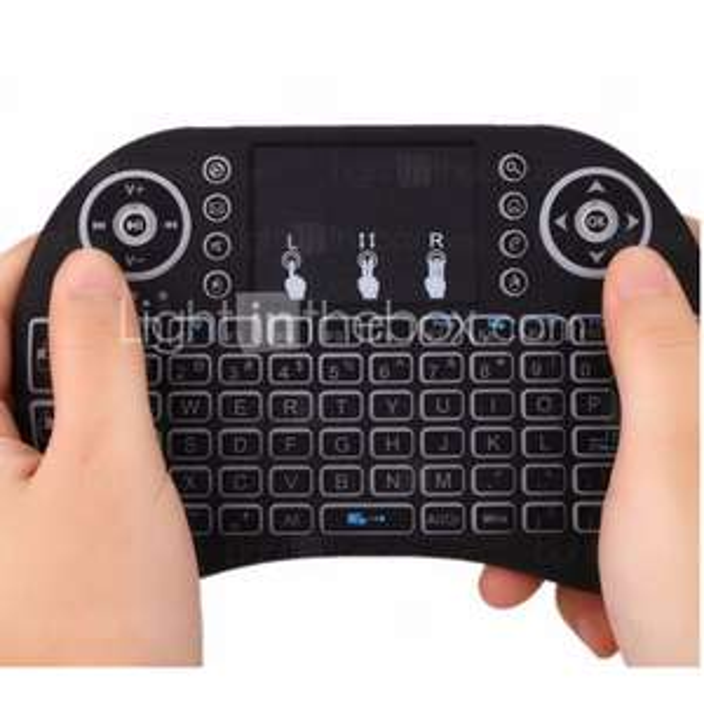 Draadloos muis, toetsenbord en tuchpad met achtergrondverlichting voor android tv box en PC