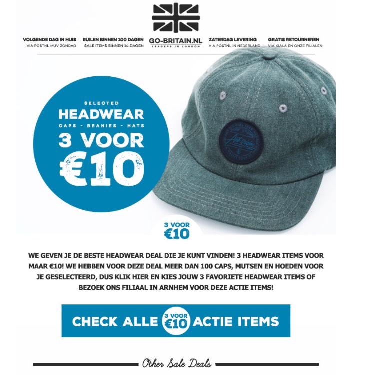 Go-britain caps 3 voor €10 op=op