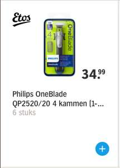 Philips OneBlade QP2520/20 4 kammen (1-2-3-5mm) [PRIJSFOUT]