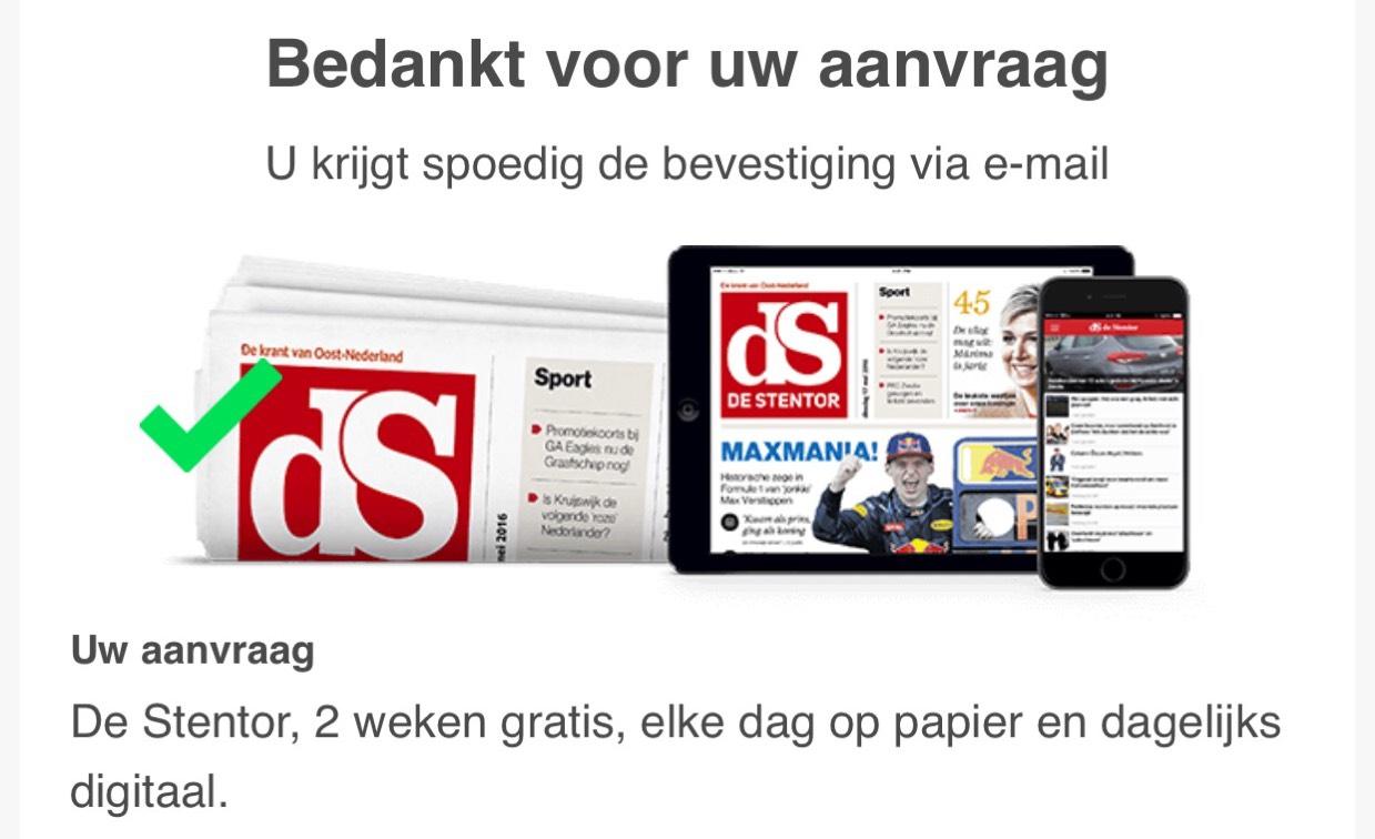 Twee weken gratis de krant @krant.nl