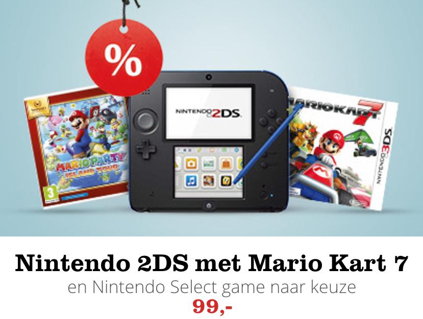 Nintendo 2DS zwart/blauw + Mario Kart 7 + game naar keuze @ Bol.com