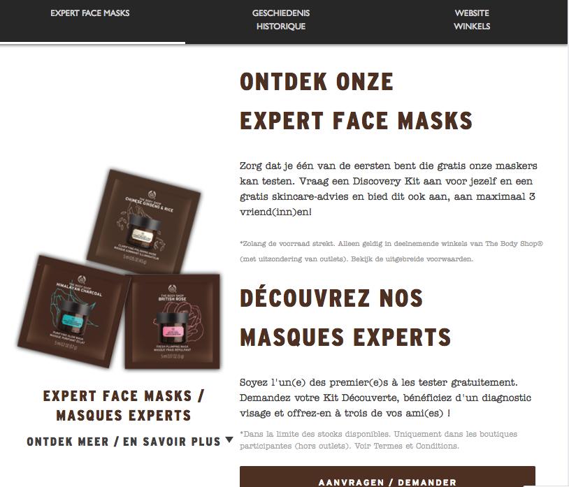 Gratis masker uitproberen The Body Shop