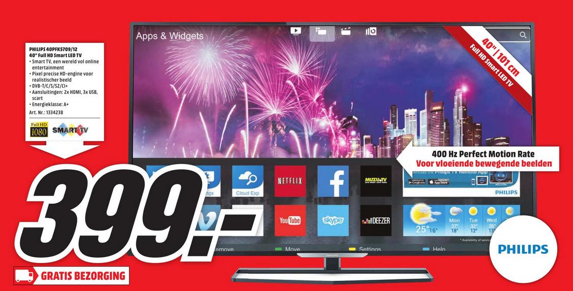 Philips 40PFK5709 Full HD Smart TV voor €399,- @ Media Markt