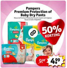 Pampers Premium + Pants 50% korting @ Kruidvat