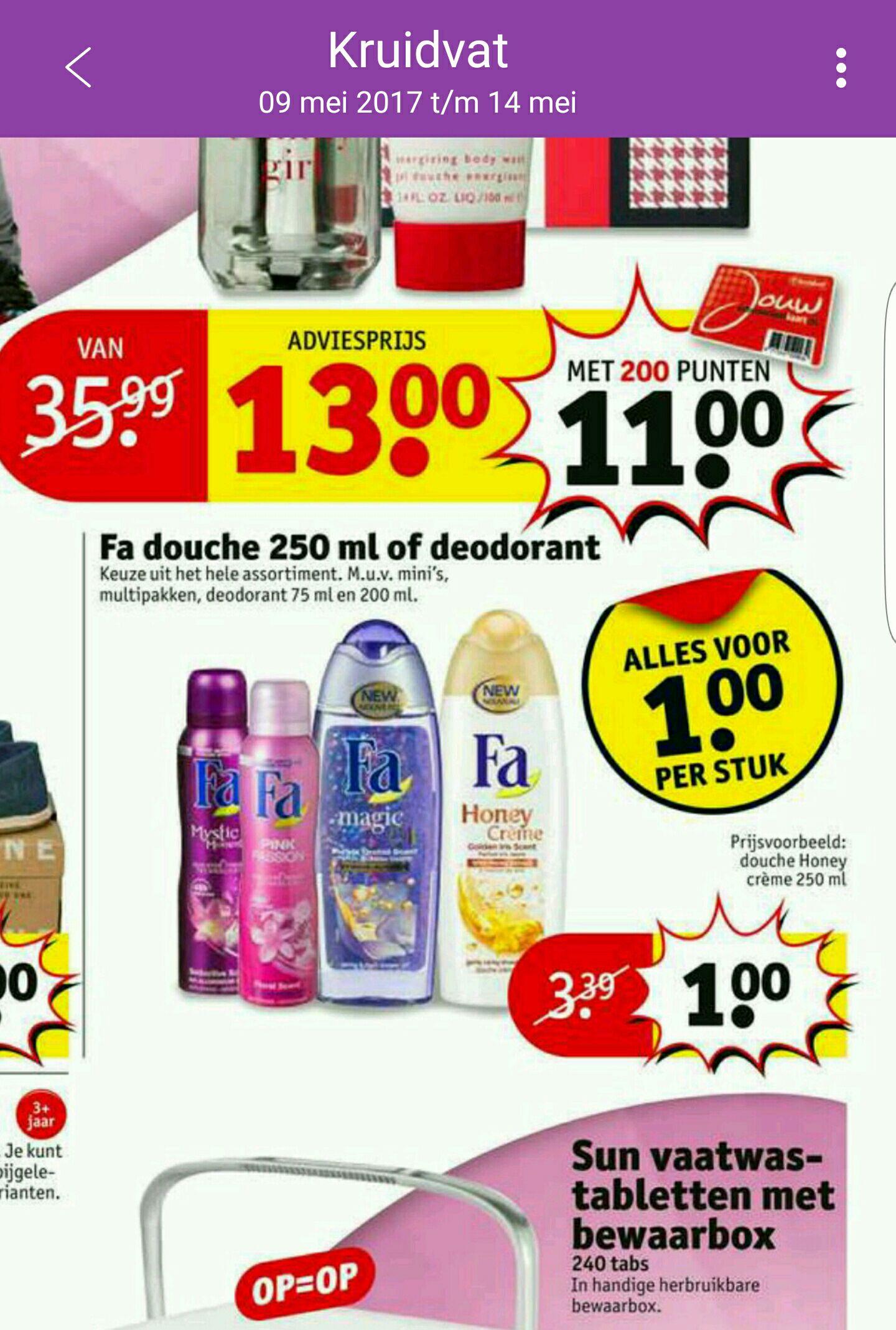 Fa deo en douche, alles voor €1 per stuk! @ Kruidvat