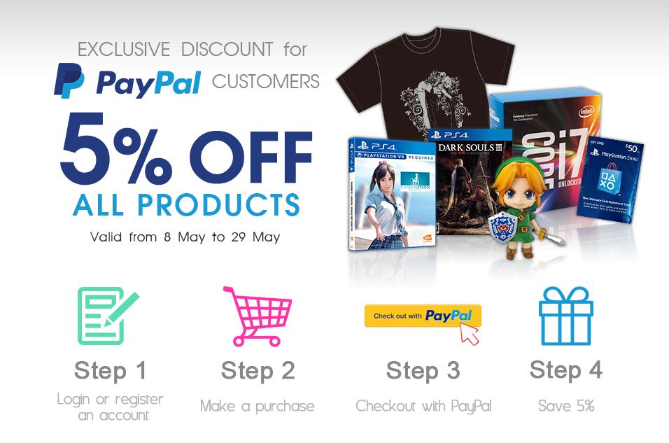 5% korting op alles, als met PayPal betaalt @ Play-Asia