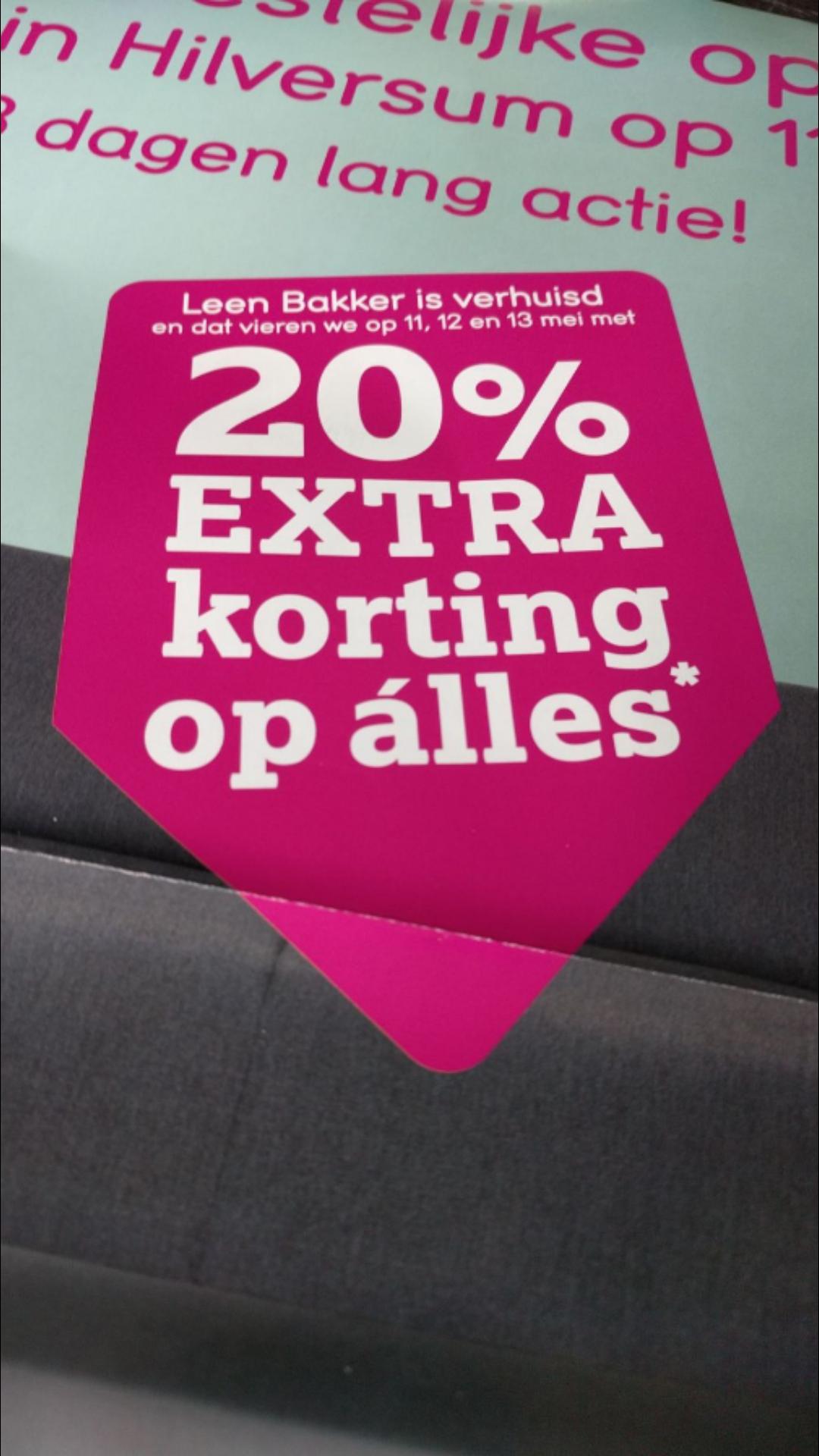 20% korting op alles bij Leen Bakker Hilversum op 11,12 en 13 mei