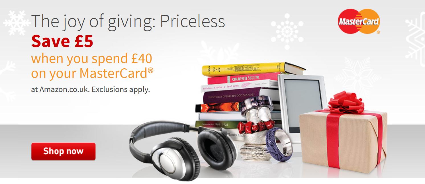 £5 korting door kortingscode als je met MasterCard betaalt (min. bestelwaarde £40) @ Amazon