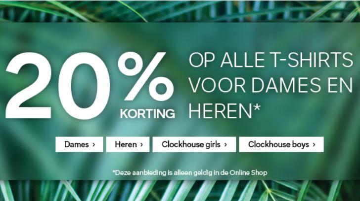 Dames + heren shirts / tops 20% korting + €5 / 10% extra met code @ C&A