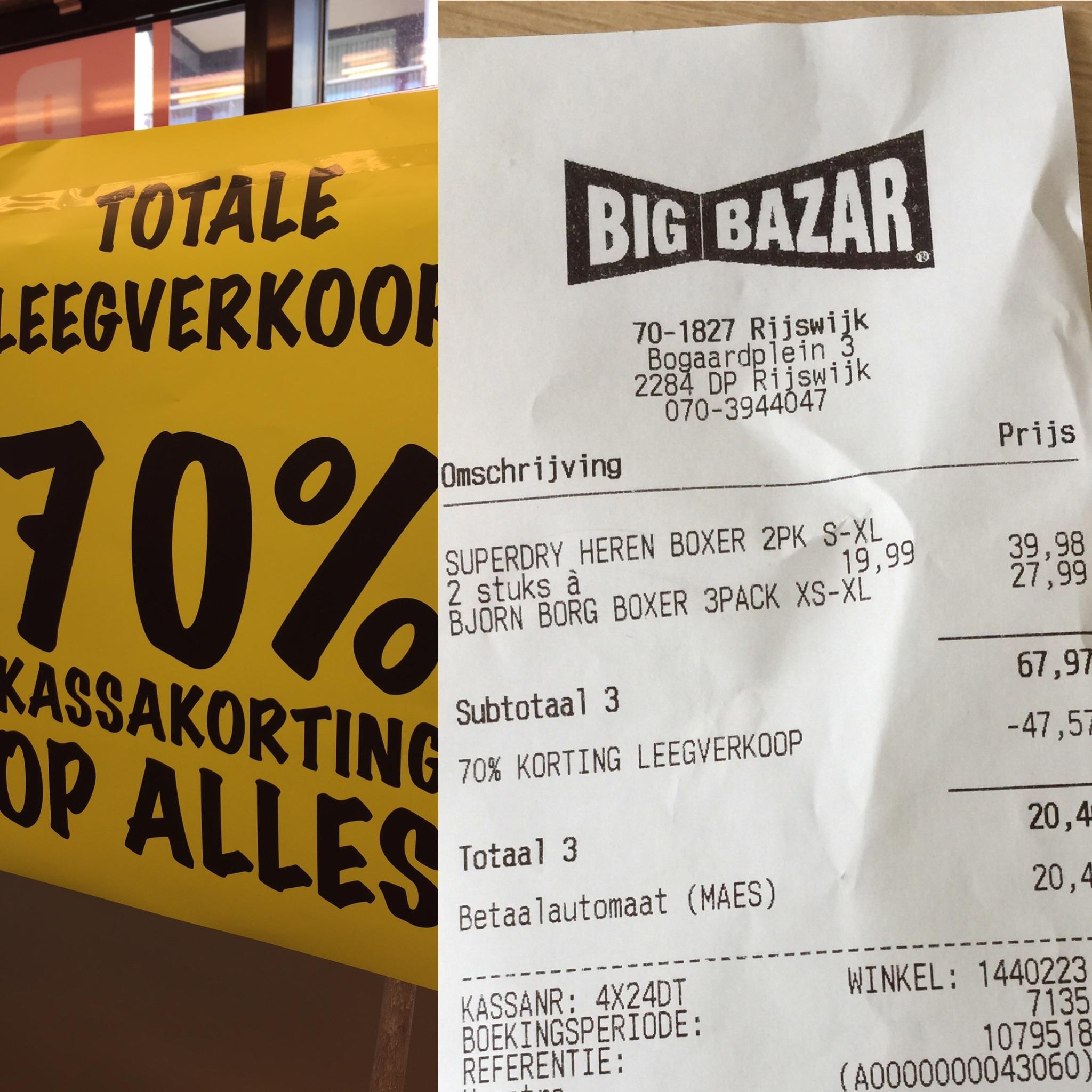 70% Korting op alles bij BigBazar Rijswijk, totale leegverkoop.