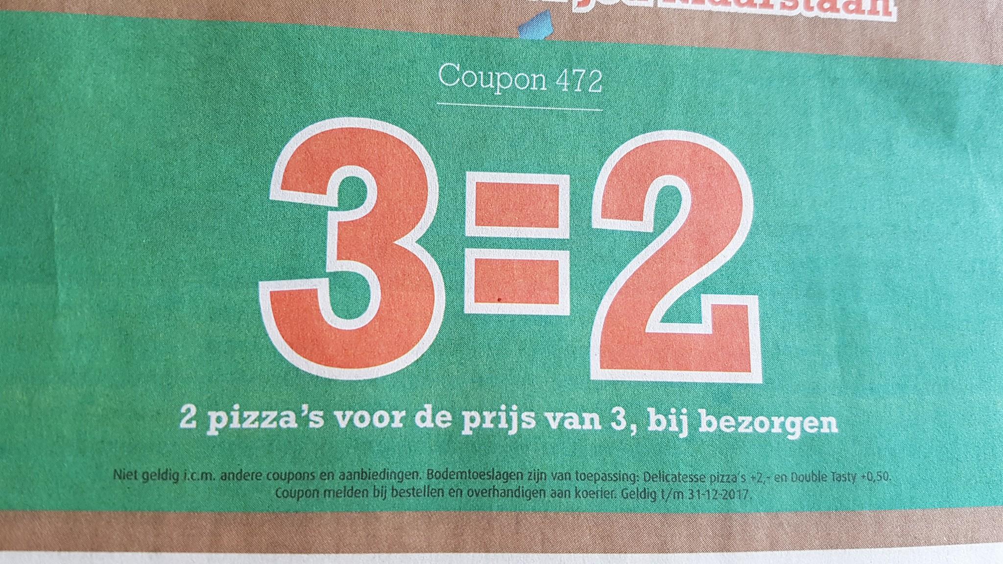 2 pizza's voor de prijs van 3, bij bezorgen --> code 472 (New York Pizza HUISSEN)