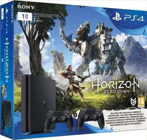 Playstation 4 Slim (Black) 1TB + 2 Dual Shock V2 Controllers + Horizon Zero Dawn voor €288 @ Nedgame