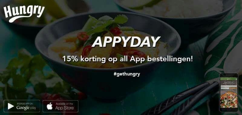 Bestel vandaag via de Hungryapp met 15% korting. Gebruik de code: APPYDAY