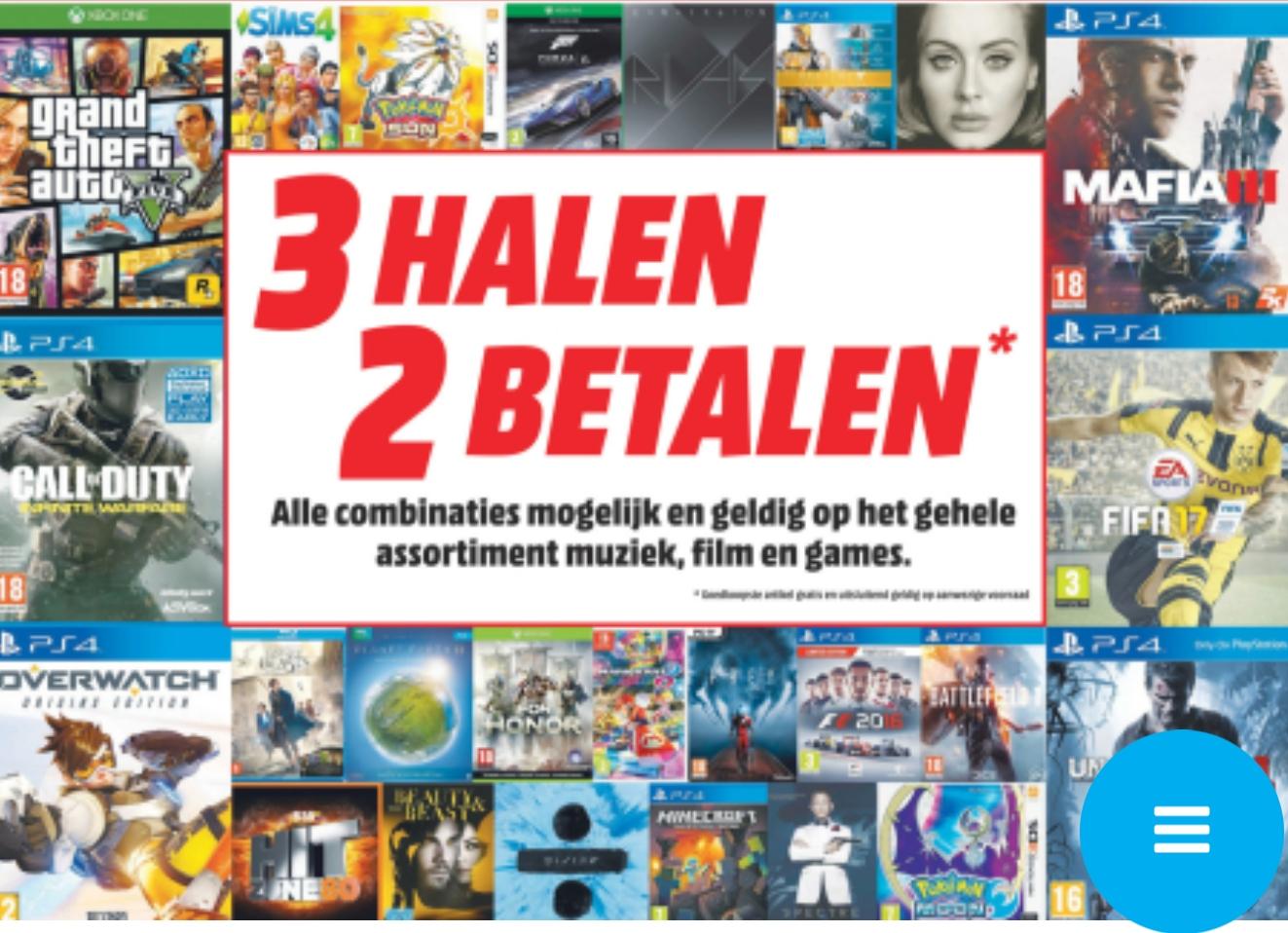 3 halen = 2 betalen op games, blu-ray, dvd en cd's @ Media Markt (vanaf maandag)