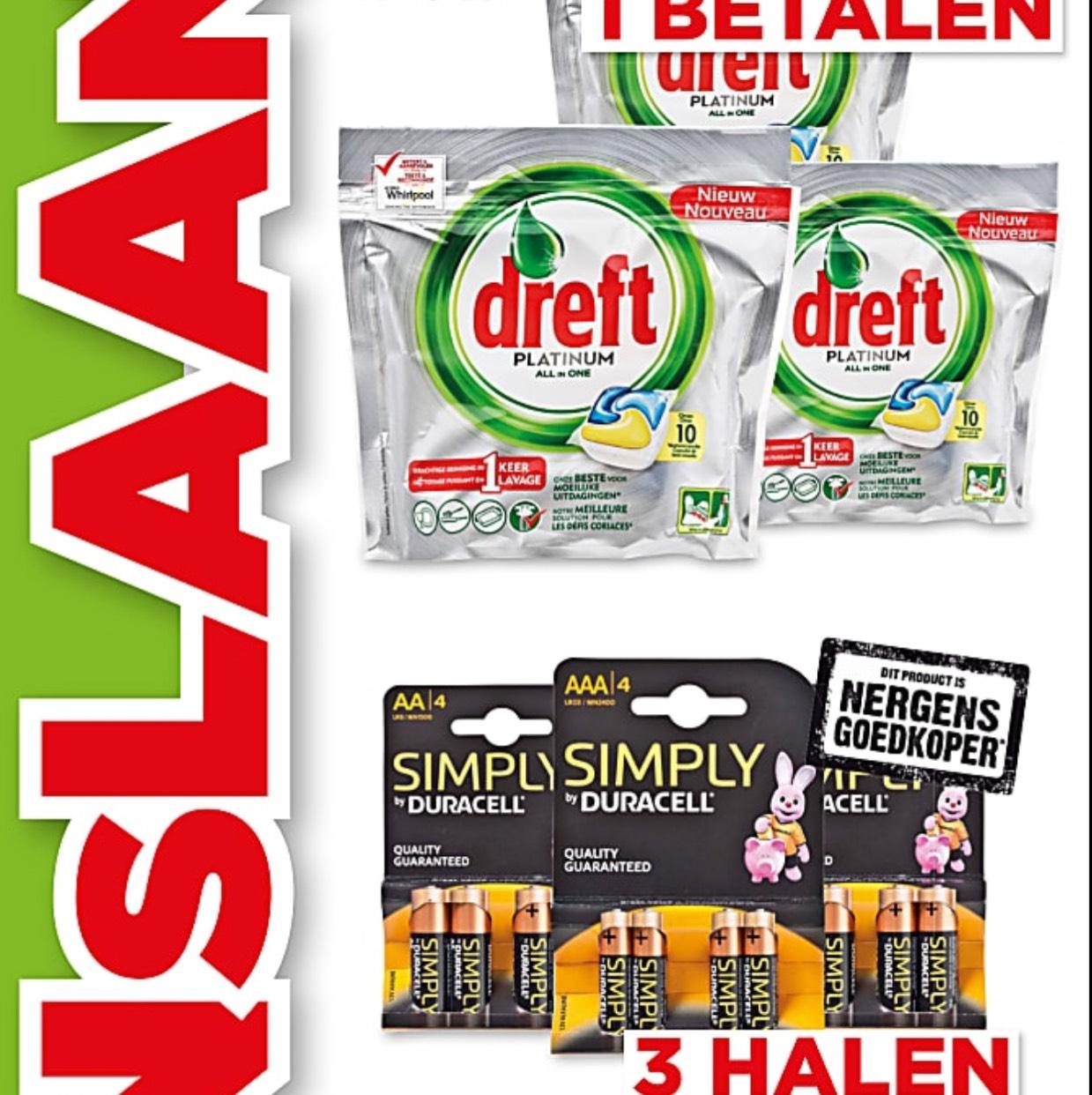 3 Halen 1 betalen op DREFT + DURACELL BATTERIJEN + DOVE @ PLUS