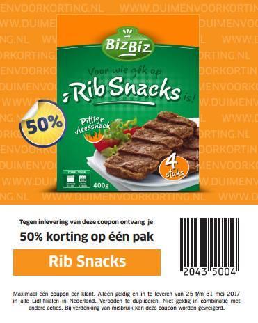 50% korting op ribsnacks bij Lidl (actieprijs: 88 cent)