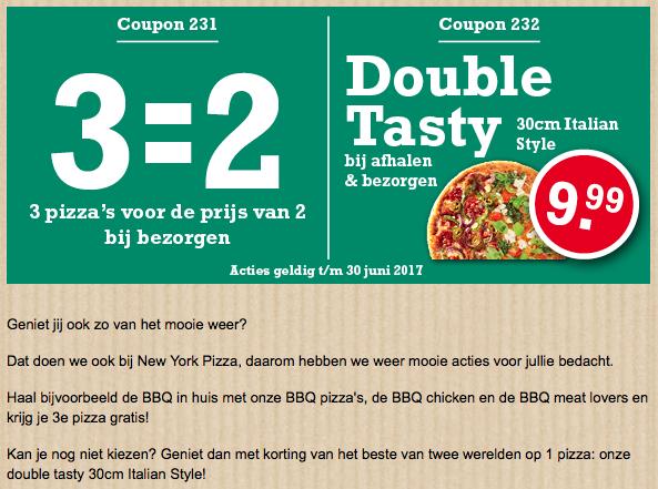 Mooi-weer-pizza's 3  = 2 bij New York Pizza