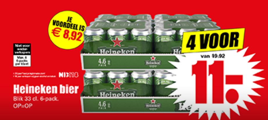 24 blikjes Heineken voor €11 @ Dirk