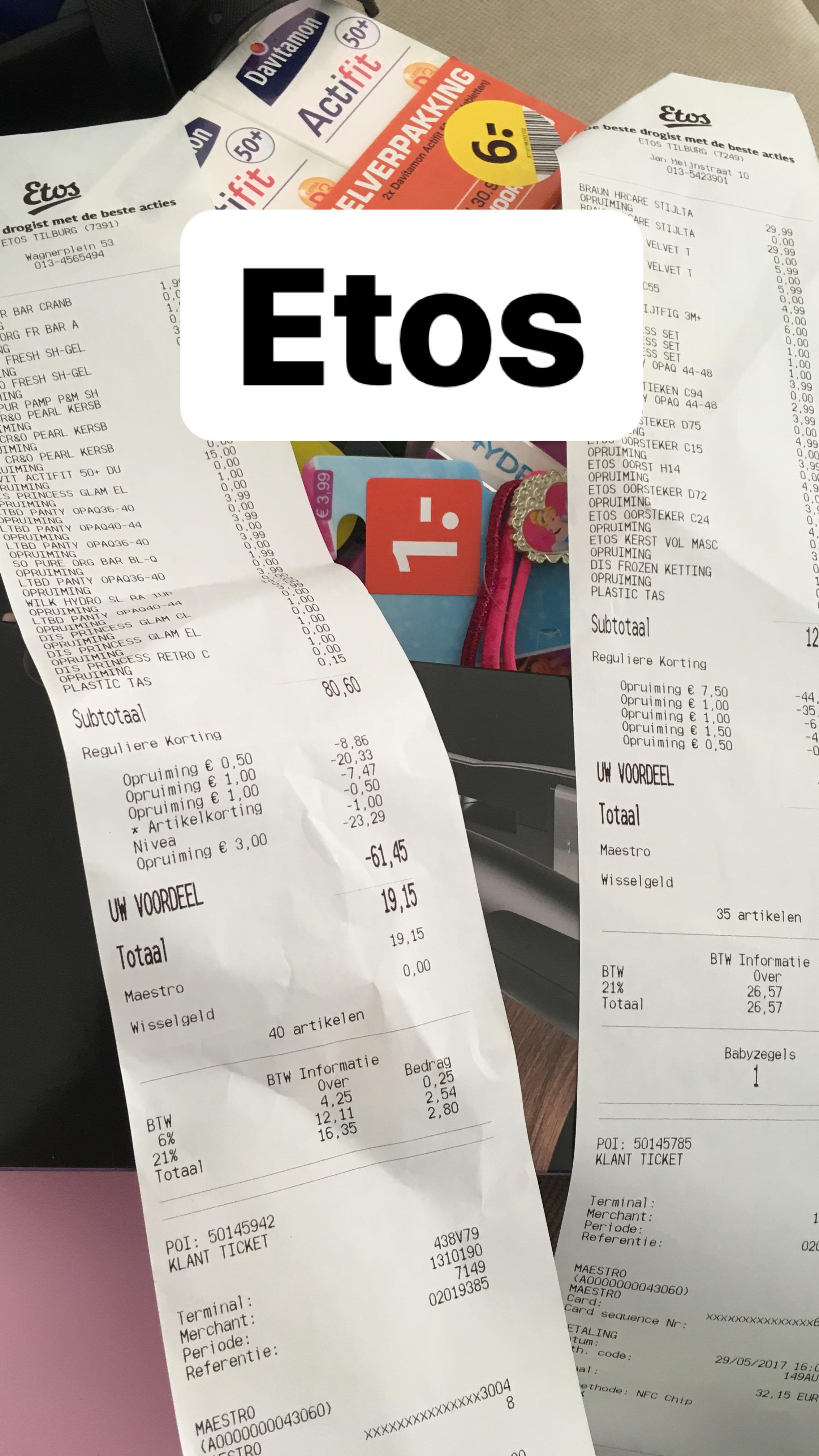 Etos-50% kassakorting op alle afgeprijsde producten