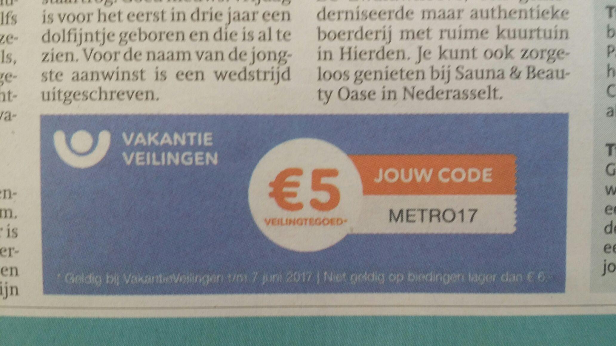 €5 euro veilingstegoed bij vakantieveilingen.nl